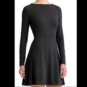 Athleta Black Fit and Flare Long Sleeve Dress